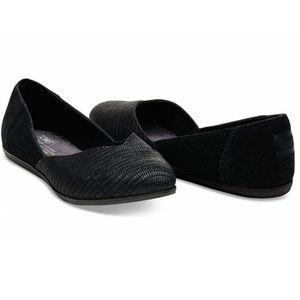 Toms Black Suede Emboss Women's Jutti Flats